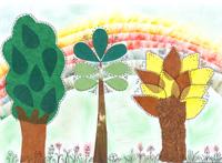 Szivárvány erdő transzparens papírral és olajpasztellal