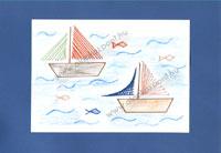 Fonalgrafika hajók, sablonnal