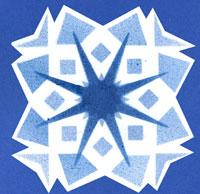Hópehely dekoráció, szitázással