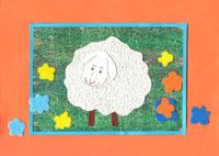Bárányka a réten, különleges papírokból