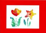 Virágok szivaccsal festve