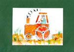 Traktor szivaccsal festve