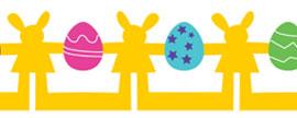 Nyuszis teremdísz színes tojásokkal