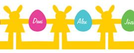 Nyuszis teremdísz nevesített tojásokkal